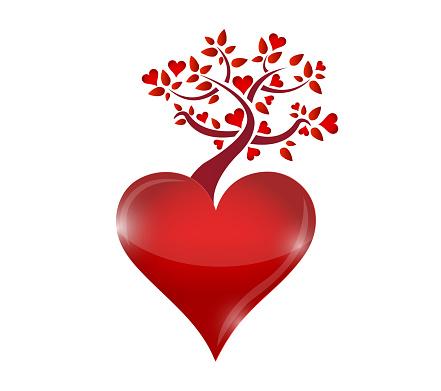Red hearts tree illustration design