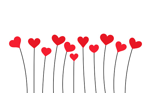 Red hearts. Valentine's Day card.