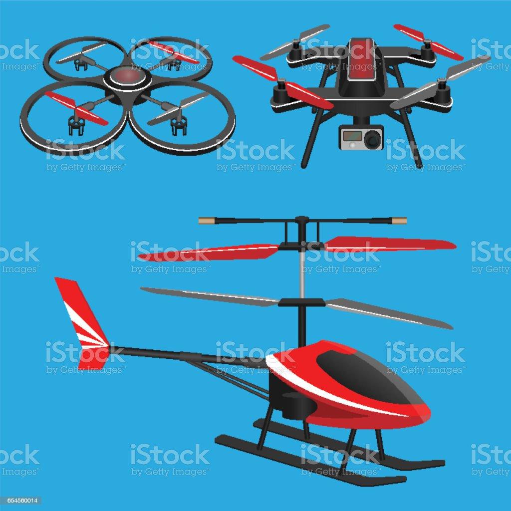 Ilustración Rojo Oscuro Helicóptero Y Sin Cuadricóptero Un Con De rCodxeB
