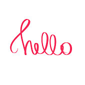 Red Hello handwritten phrase. Vector cute illustration text graphic design element on white background. Trendy calligraphy poster for kid stickers, print, t shirt, banner, invitation card, business.