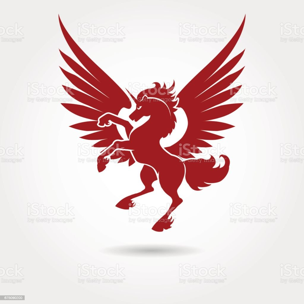 Red Heraldic Unicorn Silhouette Stock Illustration - Download Image Now