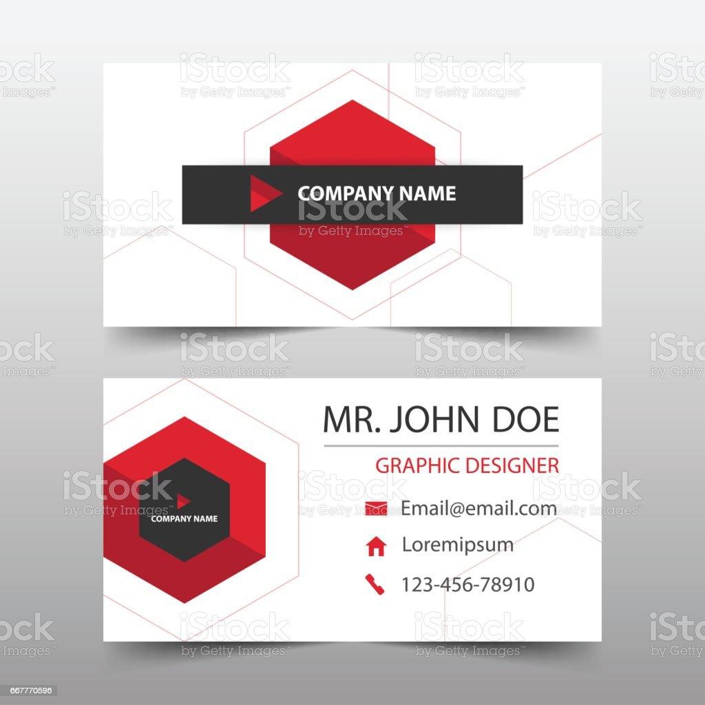 Red Hexagon Corporate Business Card Name Card Template Horizontal – Name Card