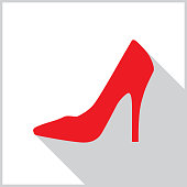 istock Red High Heel Shoe Shadow Icon 1147015835