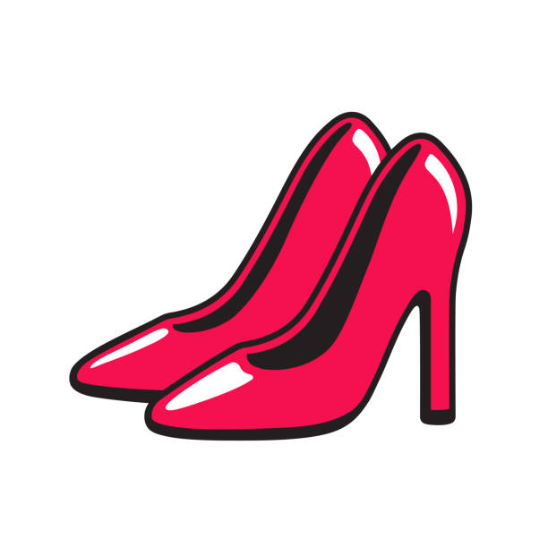 red high heel stiletto shoes - wysokie obcasy stock illustrations