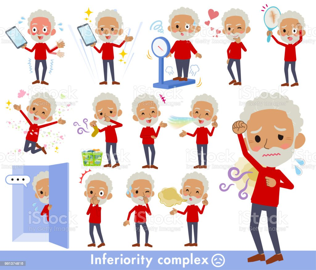 red high neck old man black_complex vector art illustration