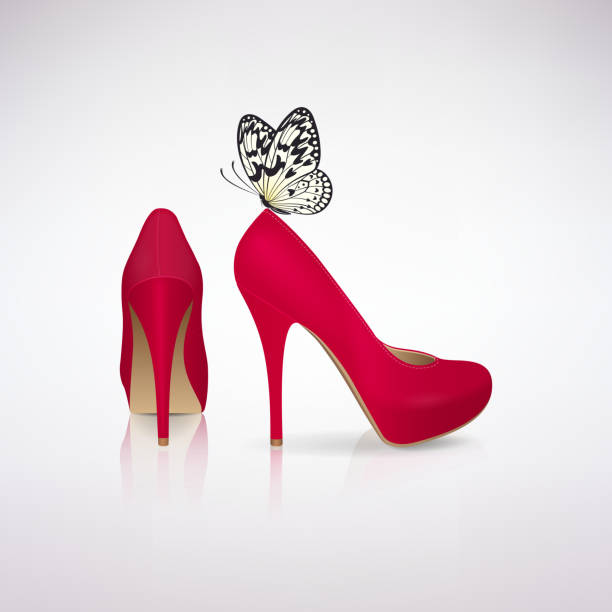 red high-heeled shoes with butterfly - wysokie obcasy stock illustrations