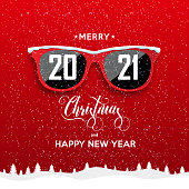 Red hipster glasses on snowfall background. 2021 Happy New Year and Merry Christmas landscape. Vector illustration.