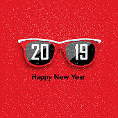 Red hipster glasses on snowfall background. Happy New Year and Merry Christmas. Vector illustration.