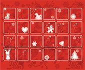 Red Holiday Advent calendar with Christmas icons throughout