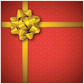 Red holiday background with golden bow and tag. Vector Illustration EPS10 transparency effect, drop shadow effect.