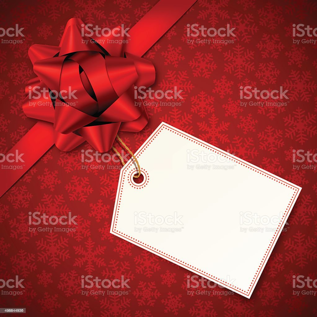 Red Holiday Background with Red Bow and Tag vector art illustration