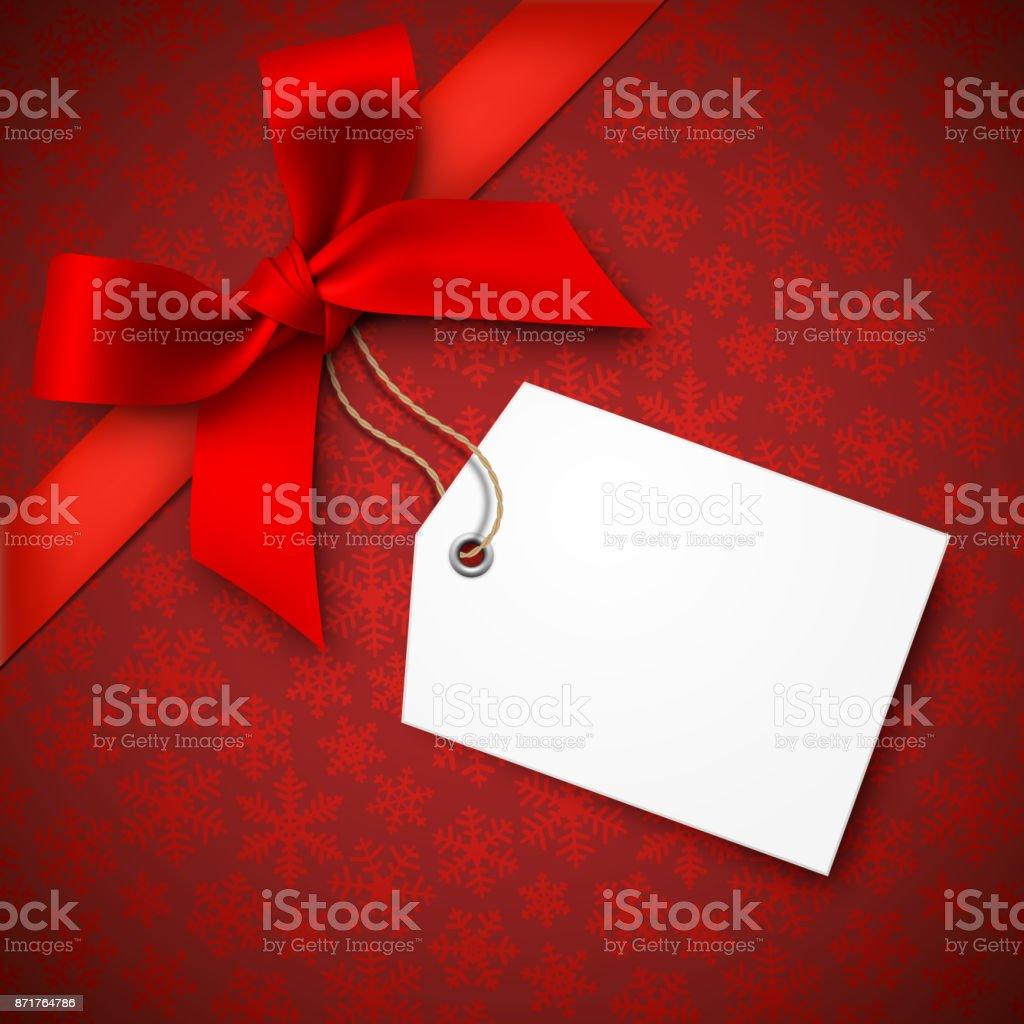 Red Holiday Background with Red Bow and Tag – artystyczna grafika wektorowa