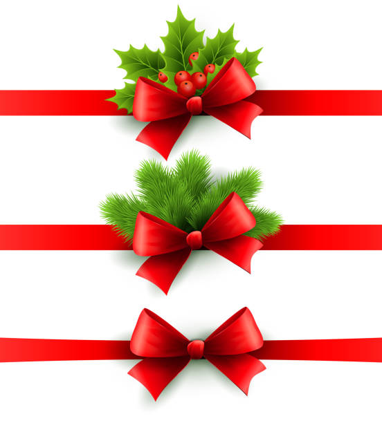 bildbanksillustrationer, clip art samt tecknat material och ikoner med red holiday ribbon with bow. holly and pine decoration - christmas decoration