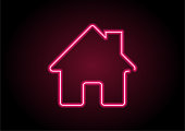 Red Home Icon Neon Light On Black Wall