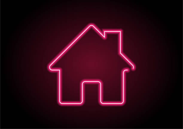red home icon neon light on black wall - home icon stock illustrations