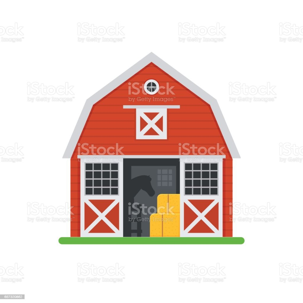 Red Horse Barns in Flat Design vector art illustration