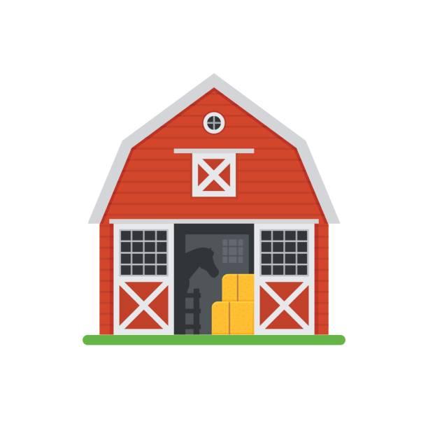 Red Horse Barns In Flat Design Vector Art Illustration