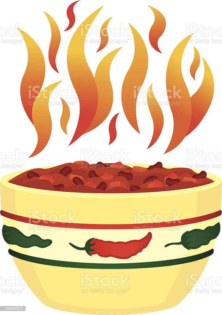 Red hot chili in bowl with flames vector art illustration