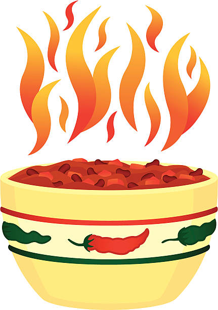 red hot chili in schüssel mit flames - chilli stock-grafiken, -clipart, -cartoons und -symbole