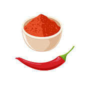 Red Hot Chili Pepper and Bowl with Powder