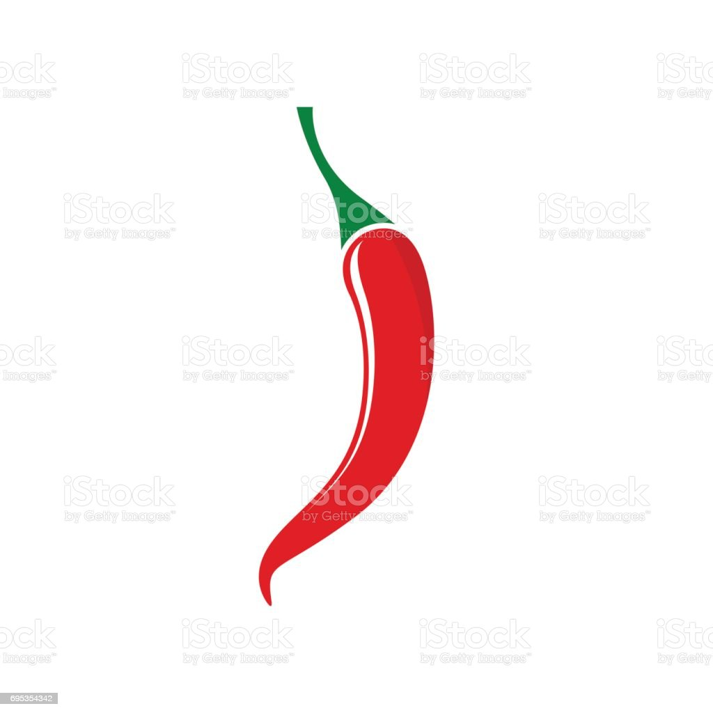 Red hot chili pepper icon isolated on white background vector art illustration