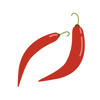 Red hot chili pepper, spicy food, vector clipart in flat style, isolate on white