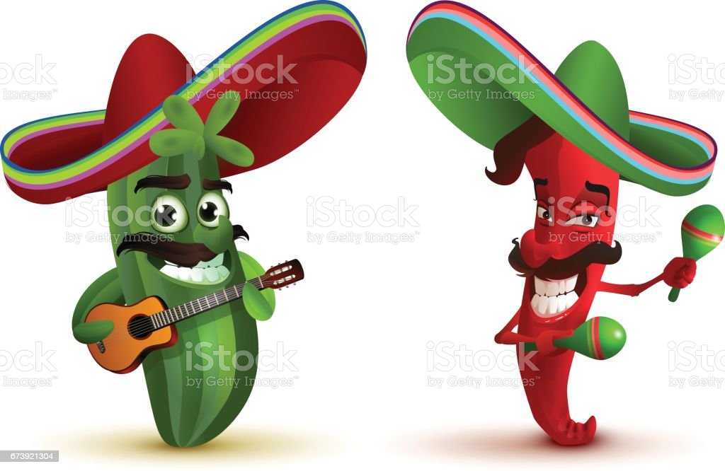 Red hot chili peppers and cactus in Mexican hat sombrero dancing maracas vector art illustration
