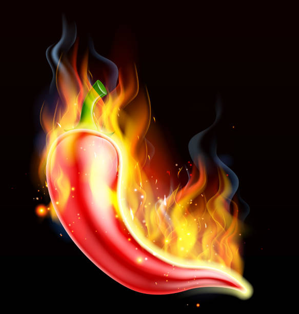 red hot chili pepper on fire - chilli stock-grafiken, -clipart, -cartoons und -symbole