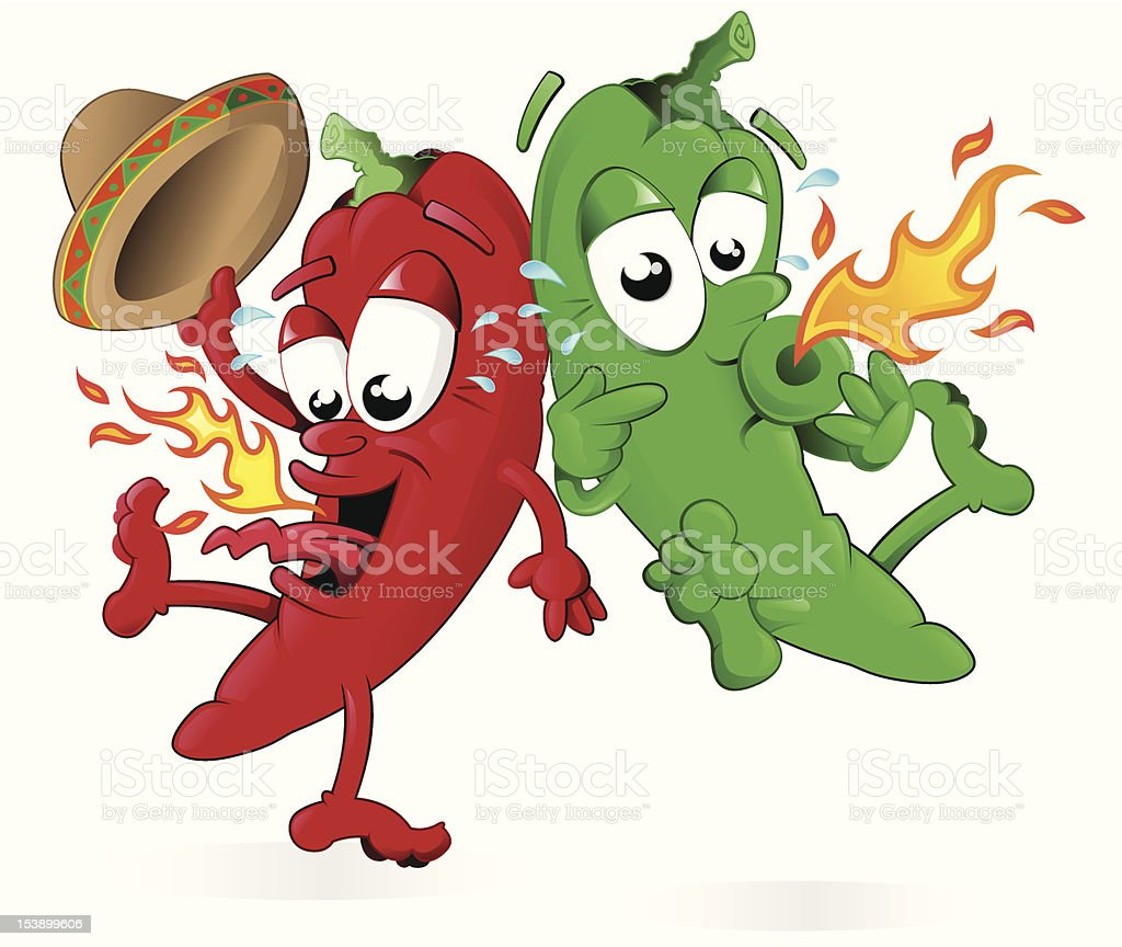Red Hot Jumping Chili Peppers vector art illustration
