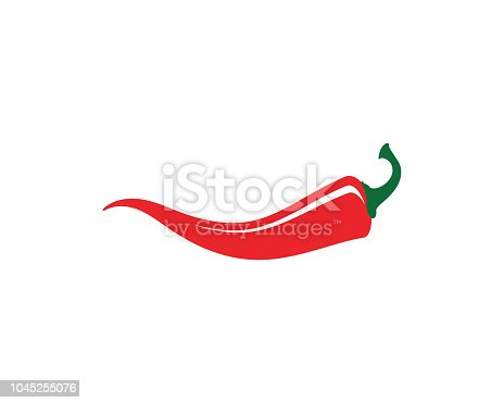 Red hot natural chili icon Template vector Illustration