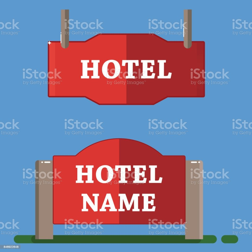 Red hotel label flat style vector art illustration