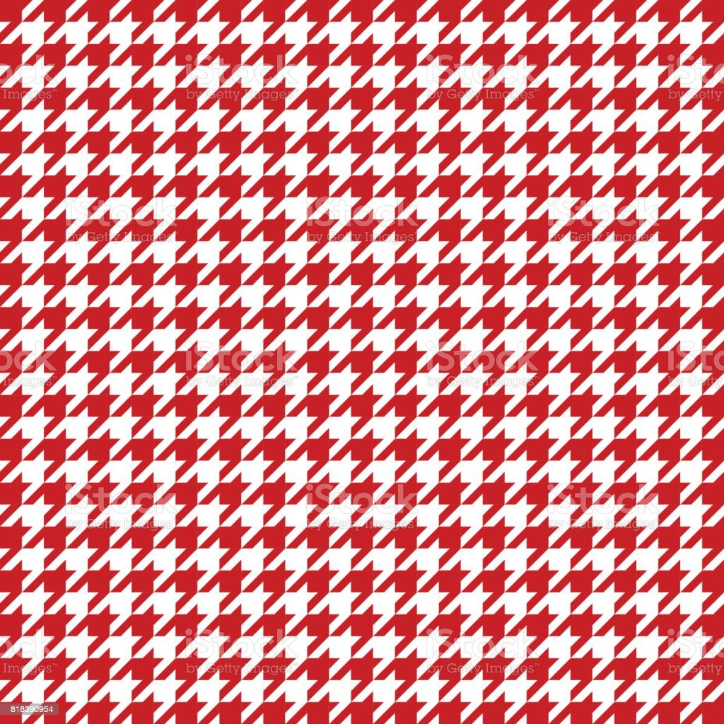 Red houndstooth pattern vector. Classical checkered textile design vector art illustration