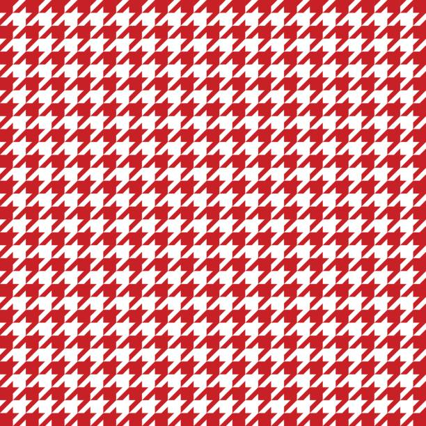 Red houndstooth pattern vector. Classical checkered textile design Red and white houndstooth pattern vector. Classical checkered textile design. headscarf stock illustrations