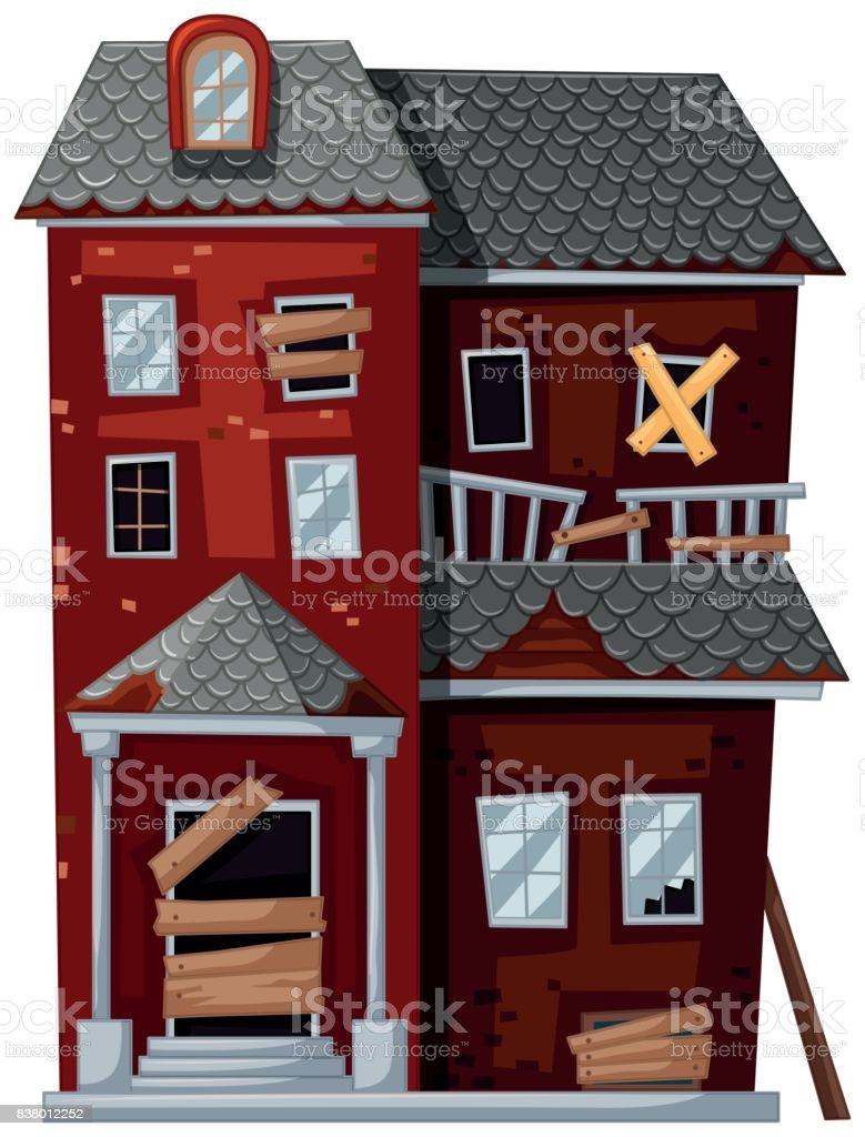 Red house with bad condition vector art illustration