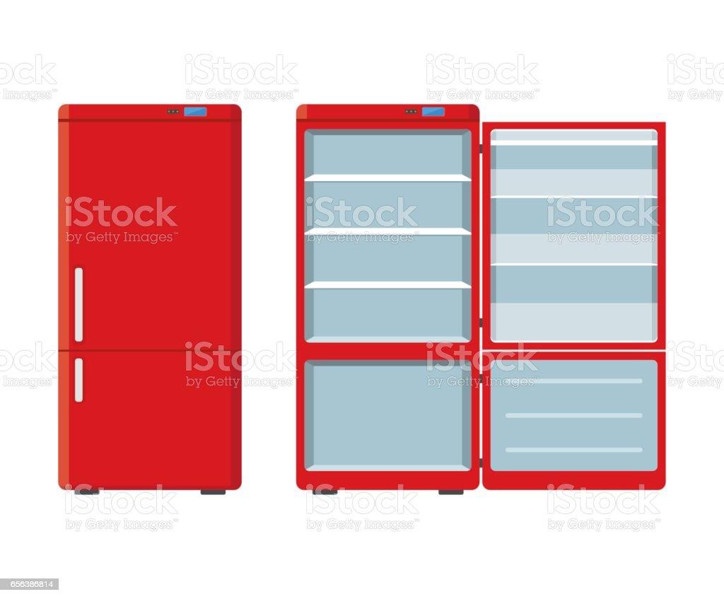 Roten Haushaltsgeräte Kühlschrank Offen Und Geschlossen Isolierten ...