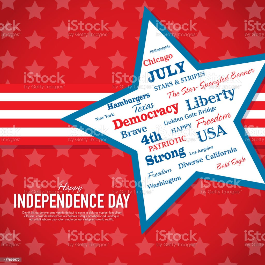 Red Independence Day Celebration greeting card design template vector art illustration