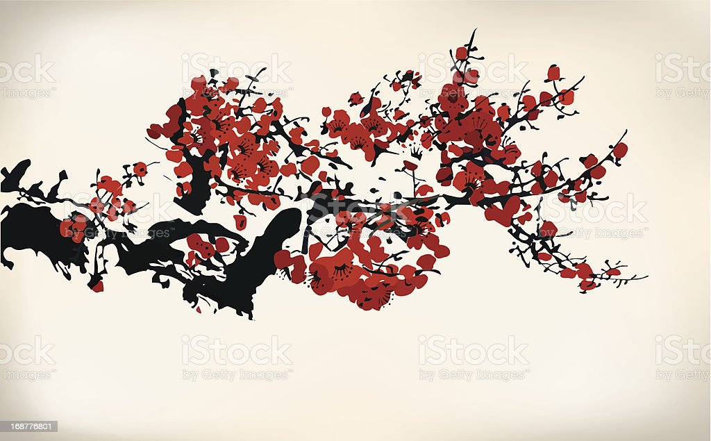 Red ink blossoms on black ink branches isolated on white royalty-free stock vector art