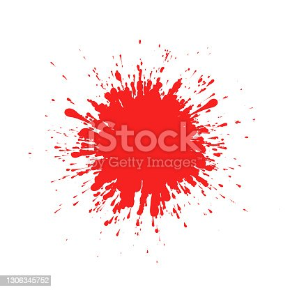 istock Red ink splatter on white background formed by individual particles. 1306345752