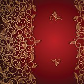 Red invitation frame with gold lace floral ornament