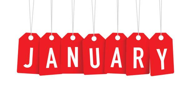 red January tags red January tags january stock illustrations