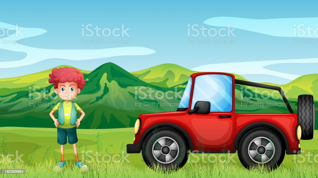 red jeepney and a boy in the hills royalty-free red jeepney and a boy in the hills stock vector art & more images of 4x4
