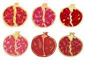 Red juicy ruby garnet. Fruits by season