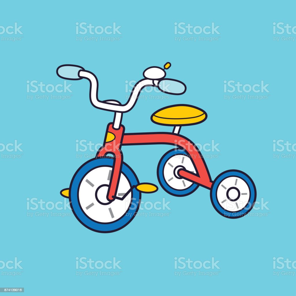 Red kids tricycle. vector art illustration