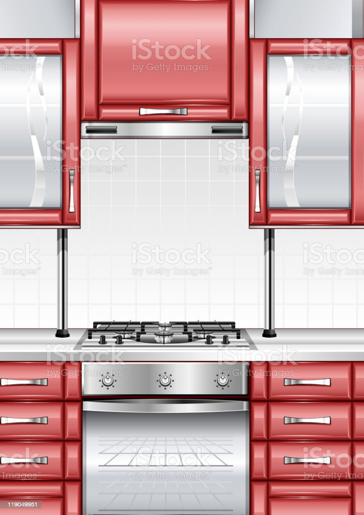 Red kitchen royalty-free stock vector art