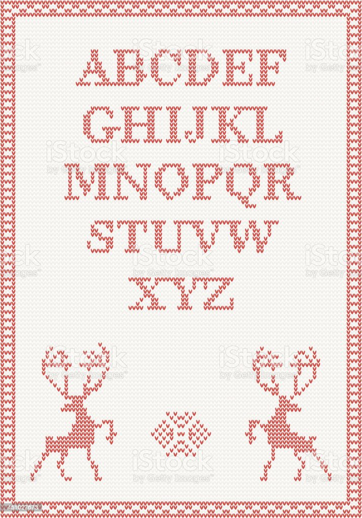 Red knitted alphabet with deer royalty-free stock vector art