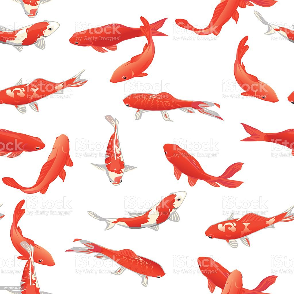 Red Koi Fishes Seamless Vector Print Stock Vector Art & More Images ...