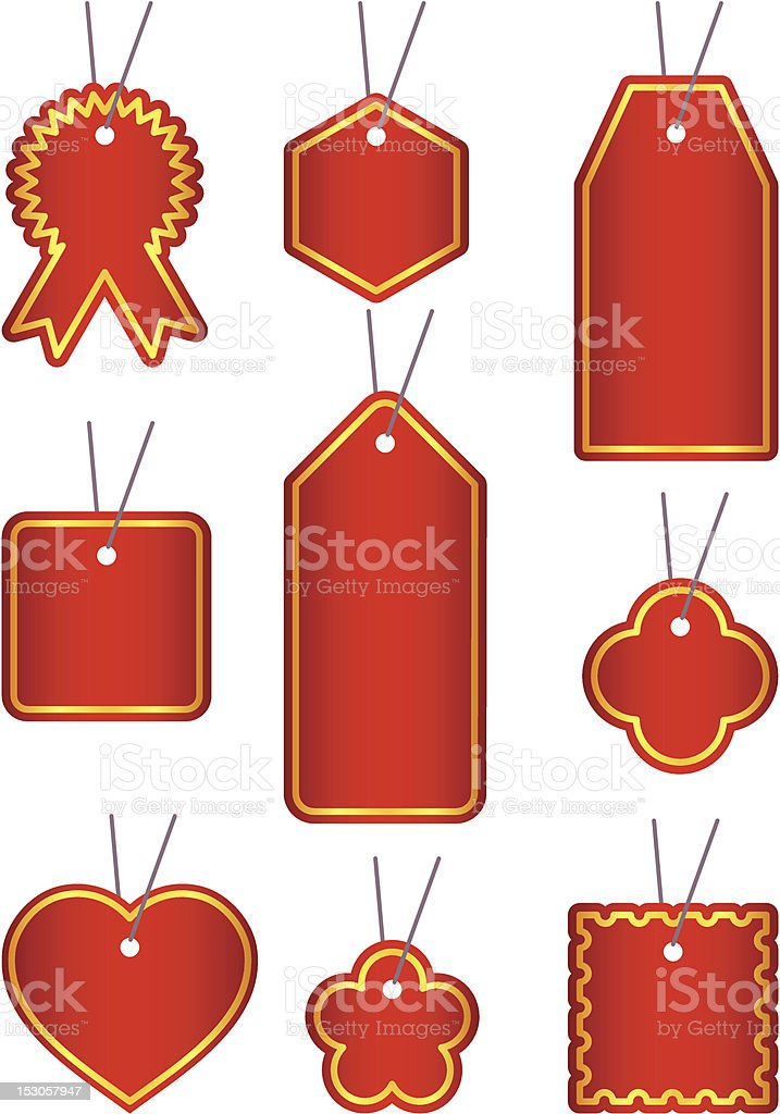Red label set royalty-free stock vector art