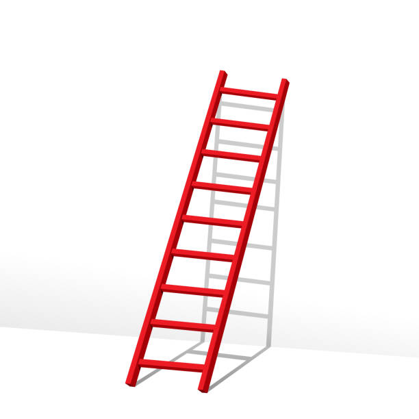stockillustraties, clipart, cartoons en iconen met rode ladder - ladder