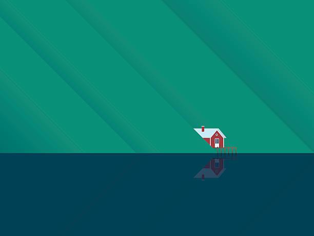 bildbanksillustrationer, clip art samt tecknat material och ikoner med red lake house under mountains with water surface reflection. scandinavian - summer sweden