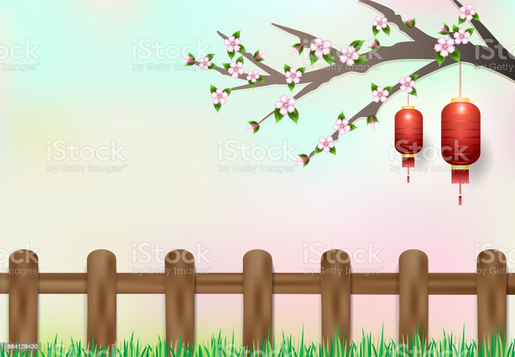 Red lantern hanging on branch of cherry blossom. nature background, paper cut, paper art illustration royalty-free red lantern hanging on branch of cherry blossom nature background paper cut paper art illustration stock vector art & more images of asia